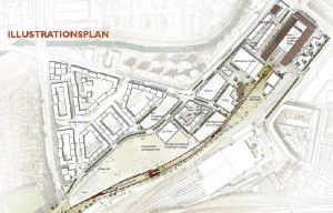 På billedet ses en illustrationsplan over det fremtidige godsbaneareal, hvor nye bygninger flytter ind. Blandt andet en ny arkitektskole, parkeringshus, Lidl's hovedkontor, erhvervsbygninger, boliger og et kollegie. Første etape af omdannelsen begynder i den nordlige ende, og anden etape i den sydlige. Foto: Tegnestuen Schønherr