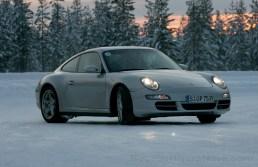 Porsche Camp4, winter driving school, 997 Porsche 911 Carrera 4S drifting in circle shaped iced track, Rovaniemi, Finland
