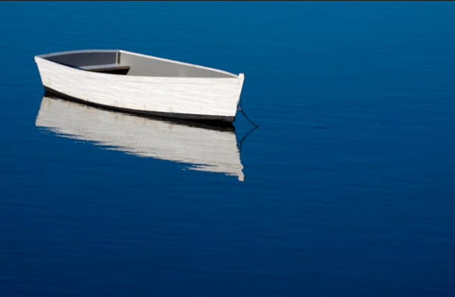 White Boat on Blue Water