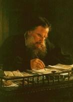 Leo Tolstoy writing; portrait by Nikoly Ge, 1884