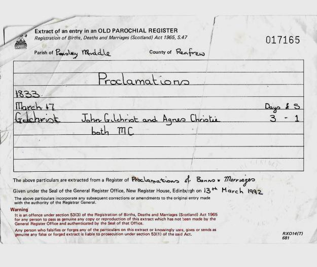 John Gilchrist-Agnes Christie marriage record.jpg