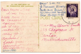 Roger W. Smith, postcard to parents from New Hampshire, summer 1958
