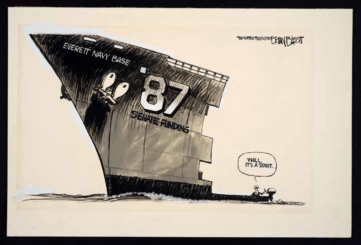 Basset började som politisk tecknare på ledarsidan