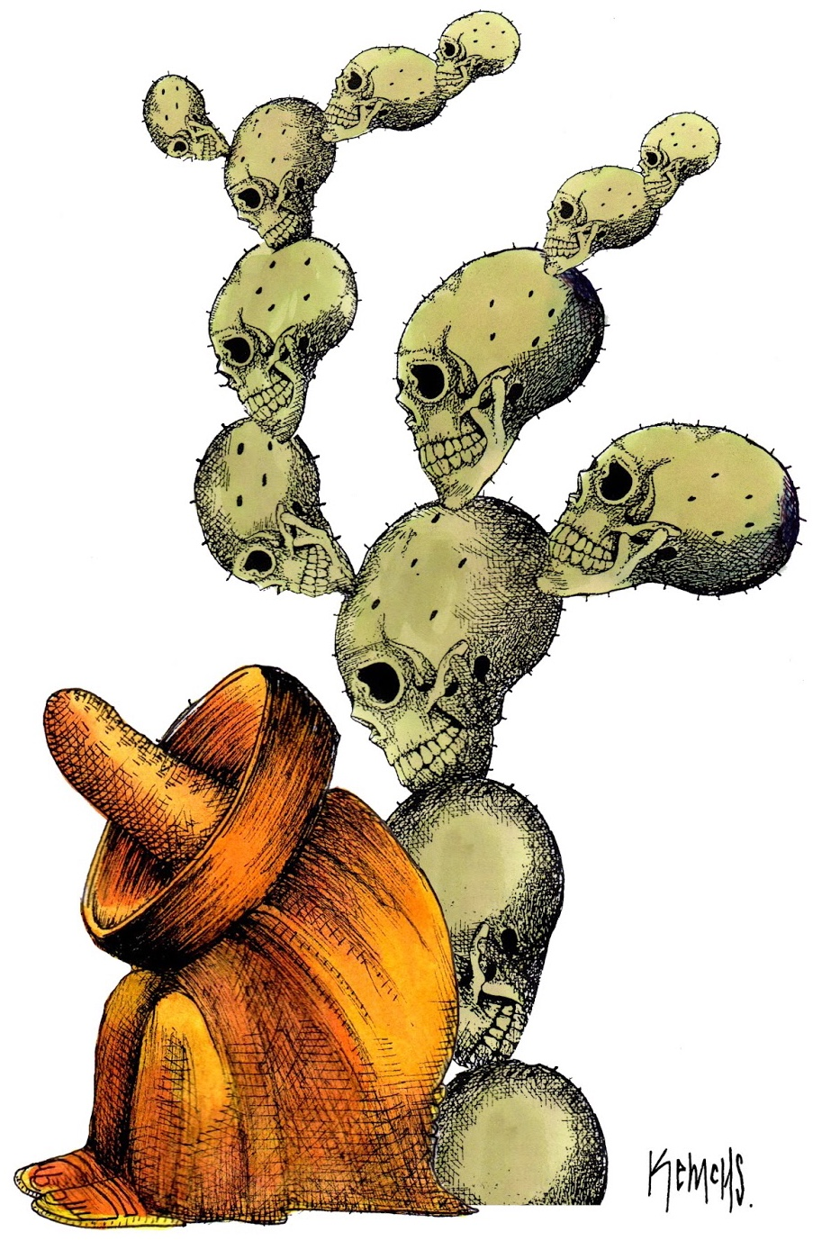 Mexican i sombrero intill död kaktus
