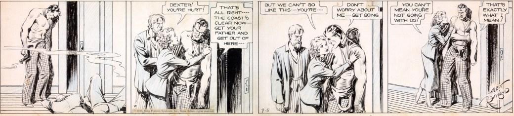 Agent X9 kallade sig Dexter i den första historien, här en stripp av Alex Raymond från 5 september 1934