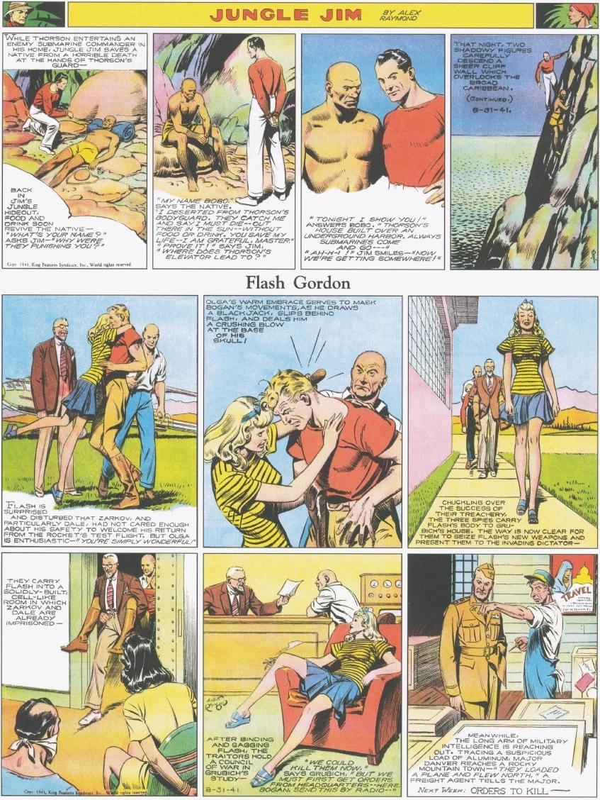 """Jungle Jim av Alex Raymond var en s.k. """"topper strip"""" på söndagssidan med Flash Gordon, här från 5 augusti 1941"""