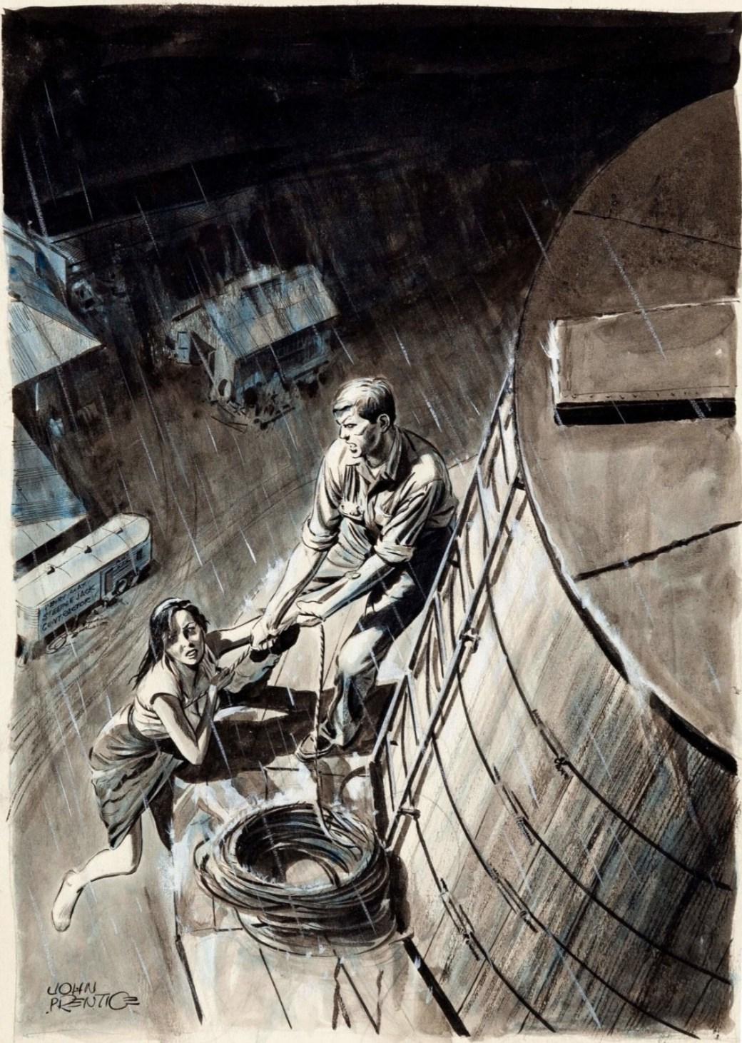 En bokillustration från 1957 av John Prentice, om en man och en kvinna som klättrar upp på gårdens silo för att fly undan regnet