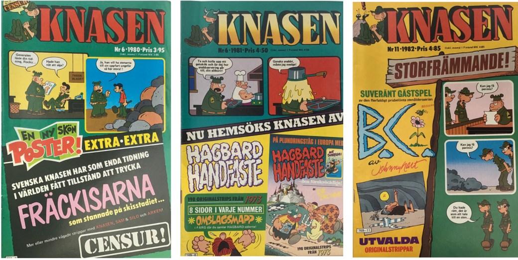 Tre nummer av Knasen från 1980, 1981, och 1982