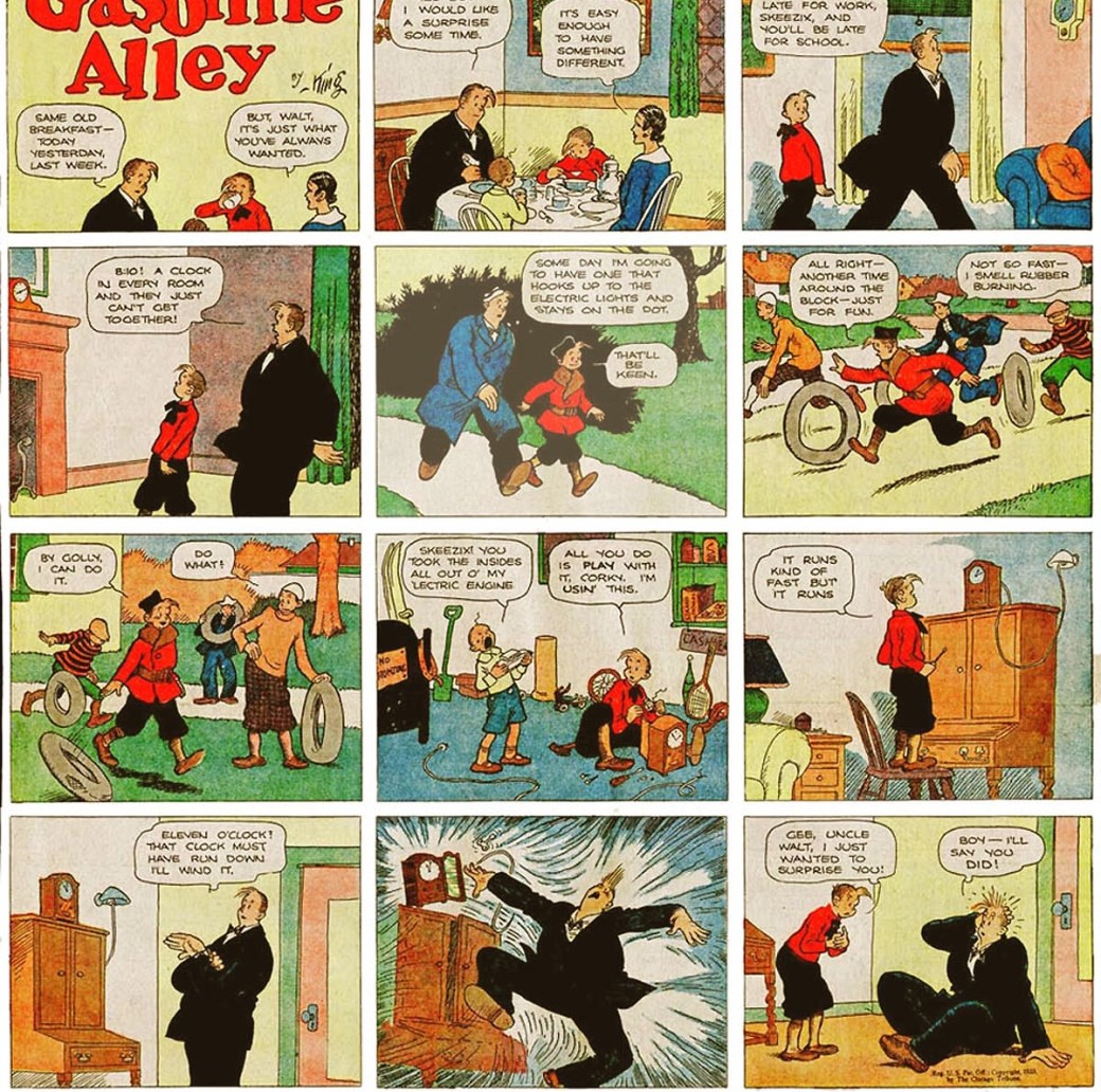 En söndagssida med Gasoline Alley av Frank King från 12 mars 1933