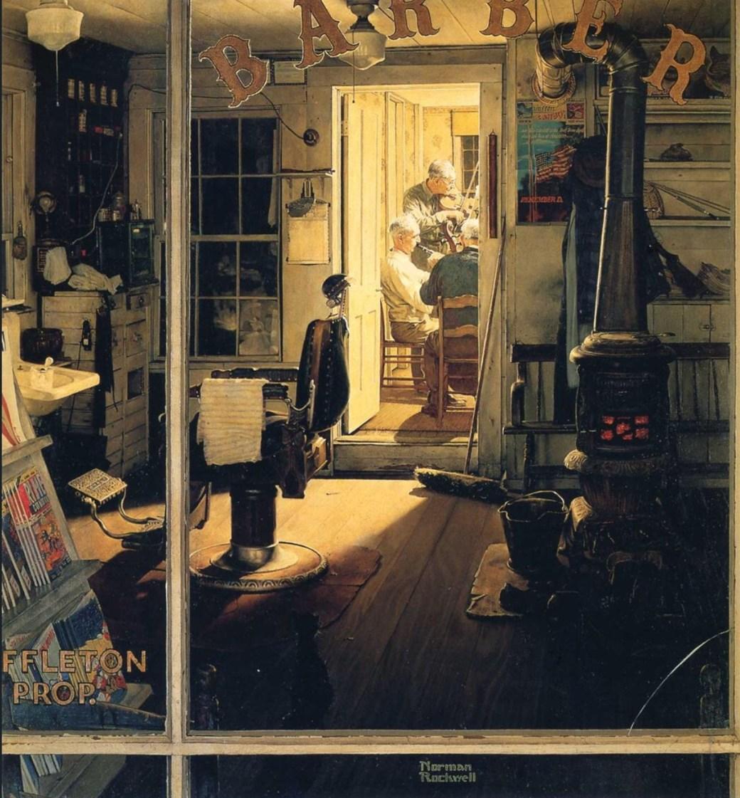 Shuffleton's Barber Shop av Norman Rockwell