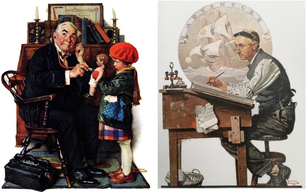 Doctor and Doll, av Norman Rockwell 9 mars 1929, och Adventure av Norman Rockwell, 7 juni 1924
