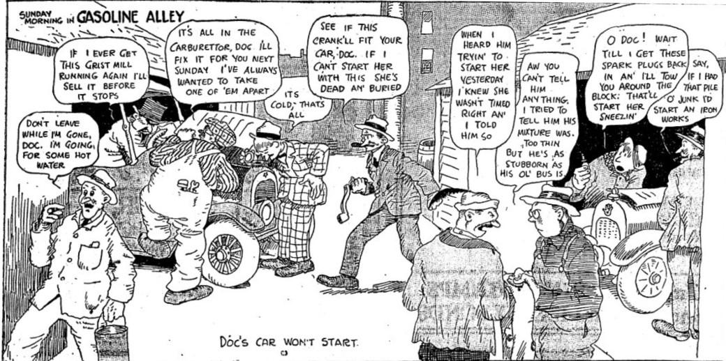 Den första rutan med Gasoline Alley från den 24 november 1918