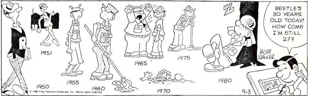 En dagsstripp från 3 september 1980, som visar hur seriefiguren Beetle Bailey utvecklats under 30 år