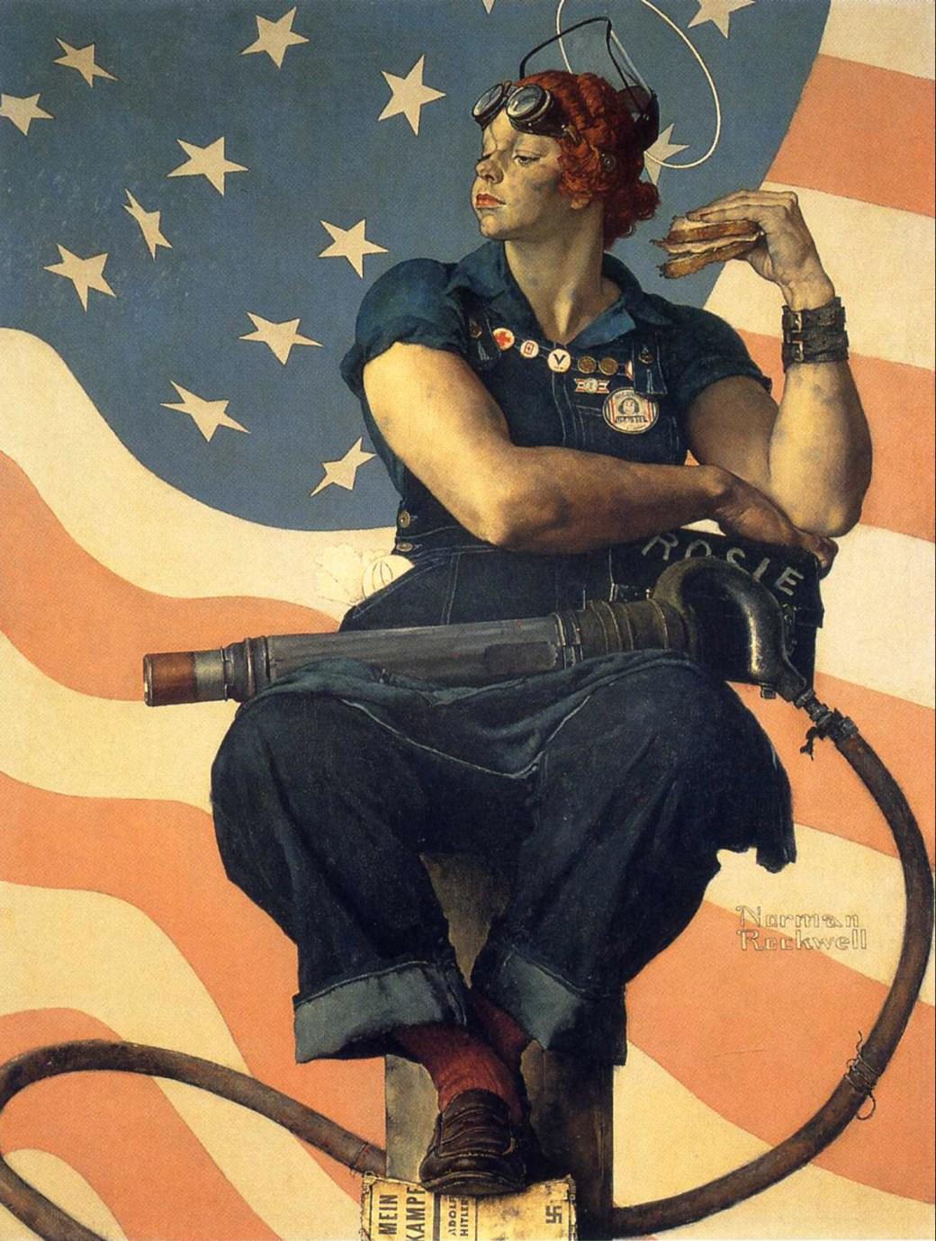 Rosie the Riveter, omslag till Saturday Evening Post 29 maj 1943. ©Norman Rockwell Family Agency