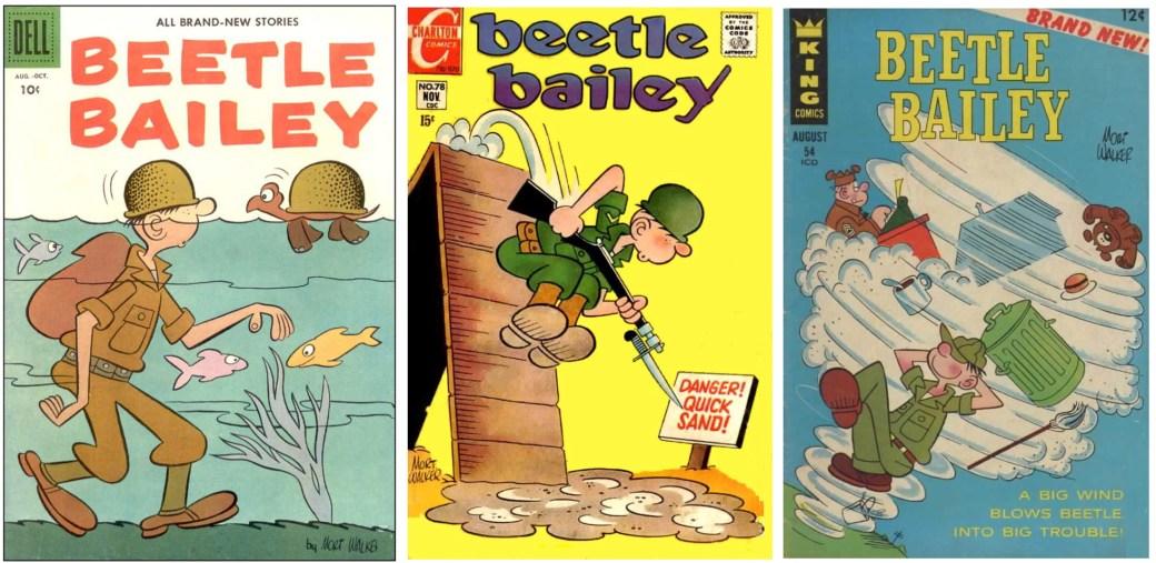 Olika omslag till serietidningen Beetle Bailey av Dell, Charlton resp. King