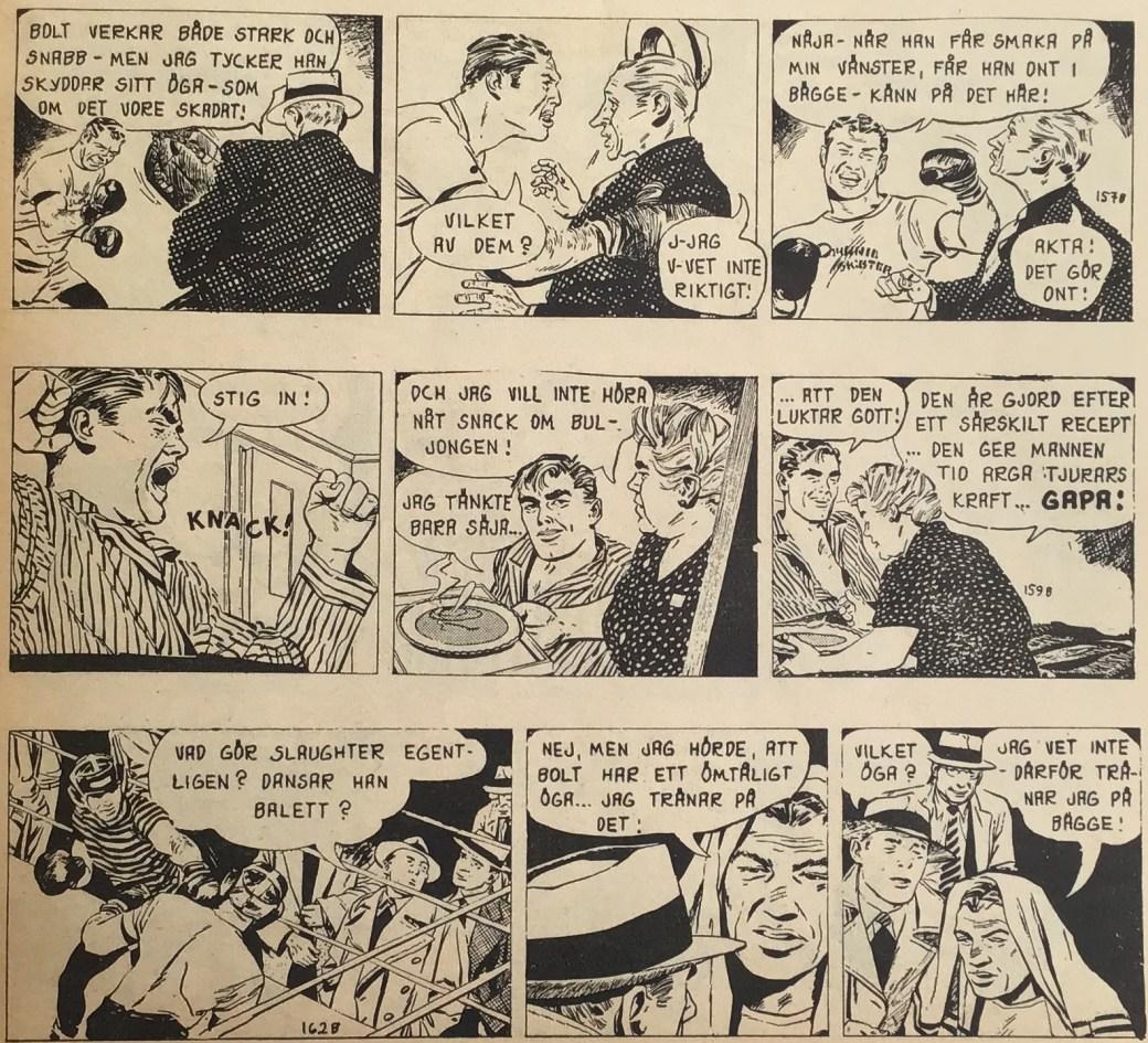Tre strippar från episoden Kid Jericho ur Ben Bolt nr 1, 1963