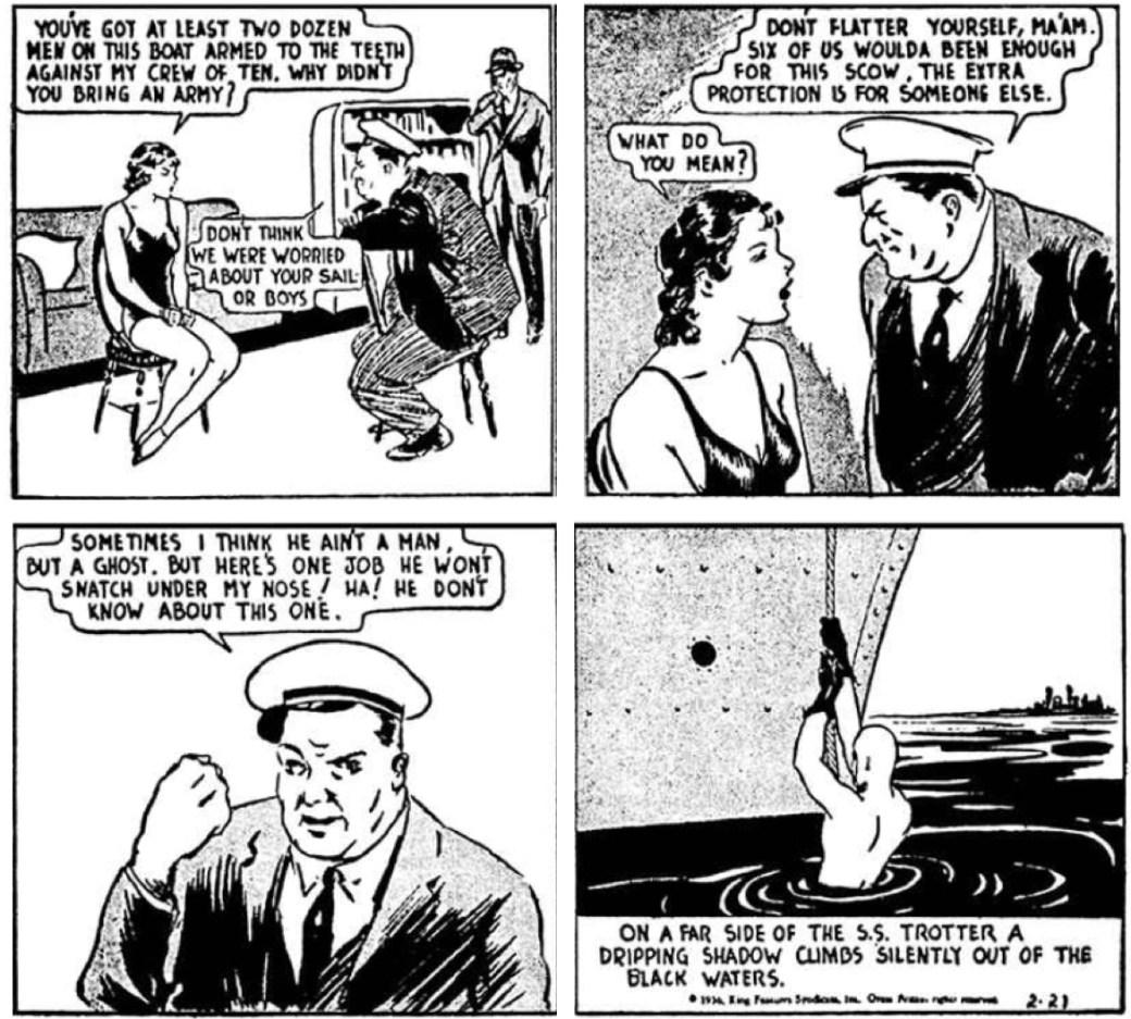 Fantomen gör en diskret entré i serien den 21 januari 1936