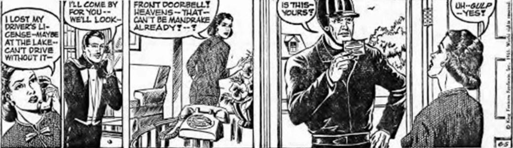 Davis fru tecknade Mandrake: Dagsstrippen den 5 juni 1965, ur The Odd Fellow, var Marthas sista dagsstripp