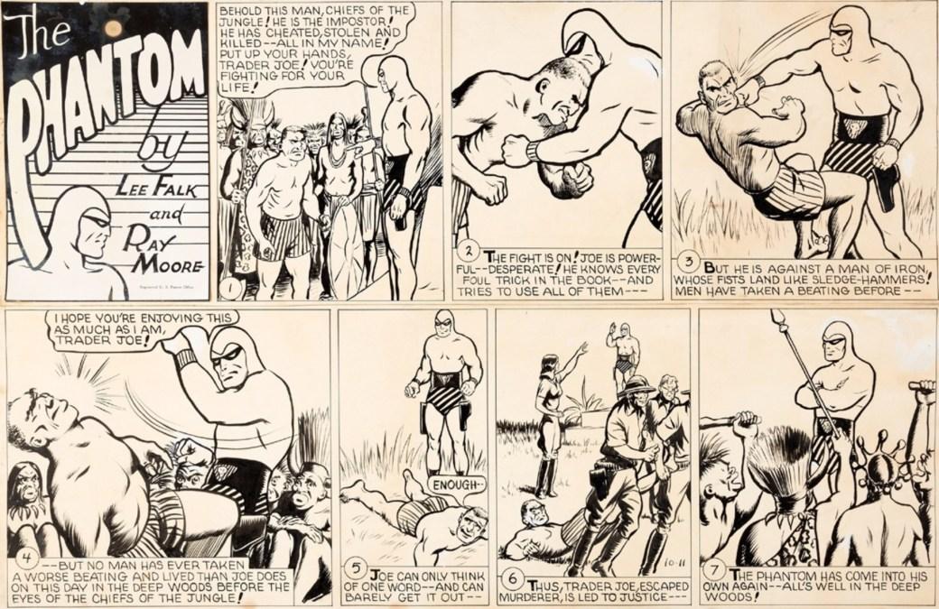 Ett Fantomen-serieoriginal av Ray Moore till söndagsserien från 11 oktober 1942