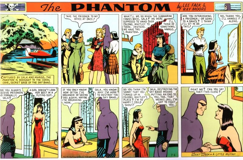Moores talang för att teckna unga damer exponeras extra mycket i episoden The Return of The Sky Band, här med en stripp från 6 juli 1941 ur söndagsserien