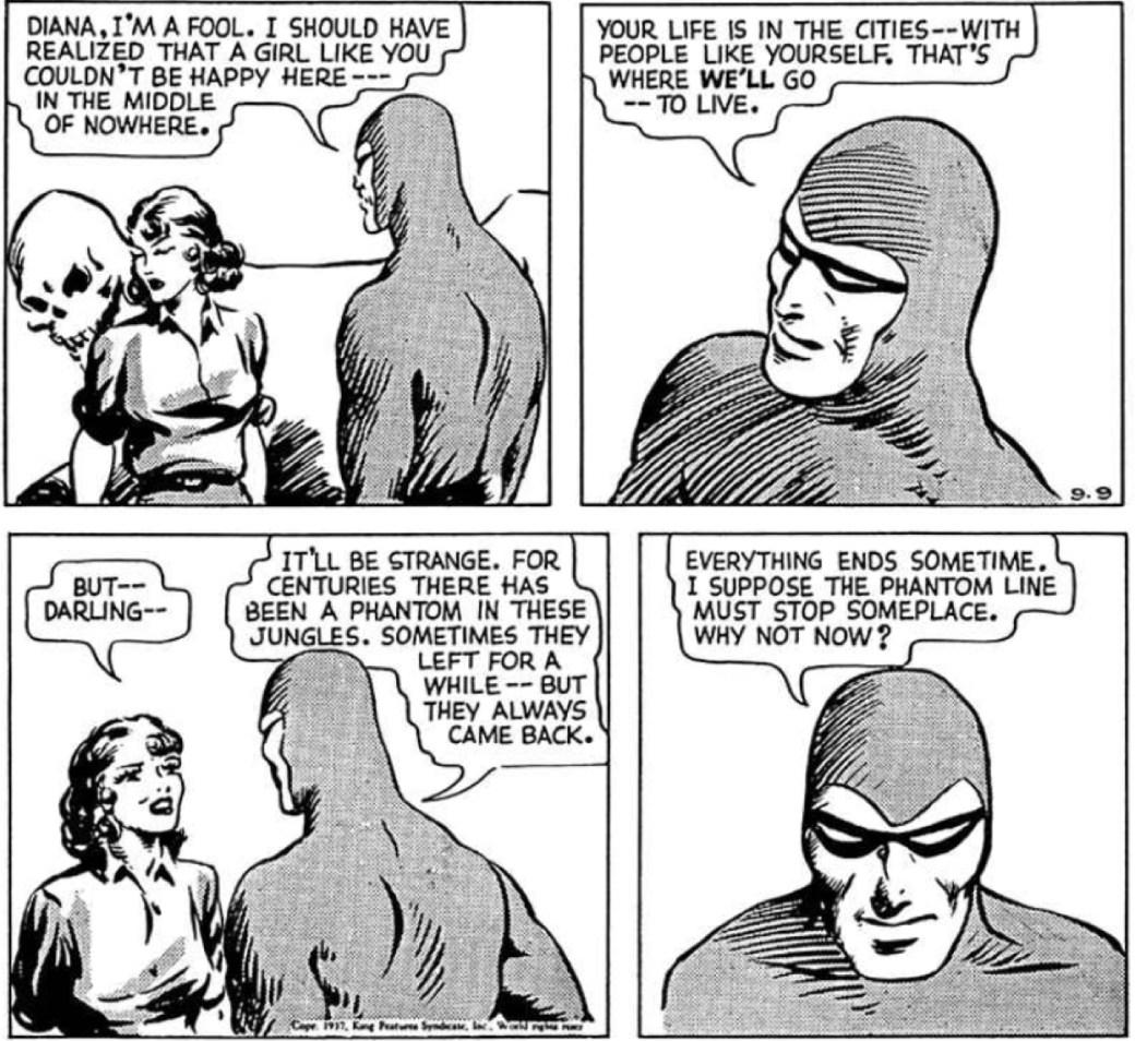 I dagsstripparna är Fantomens dräkt grå, här en stripp från 9 september 1937