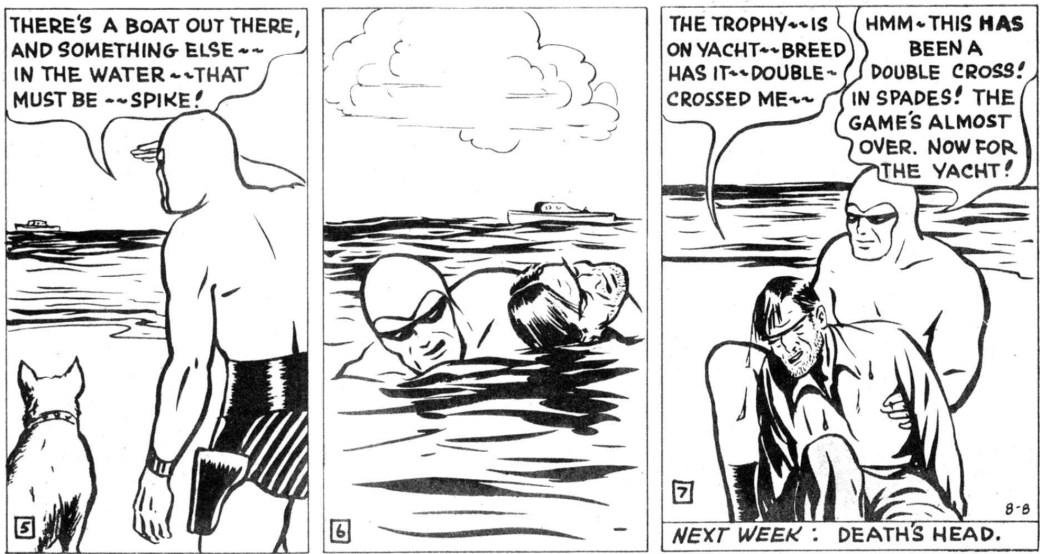 Några rutor ur en av Moores sista söndagssidor, ur episoden The Phantom Trophy, från 8 augusti 1948
