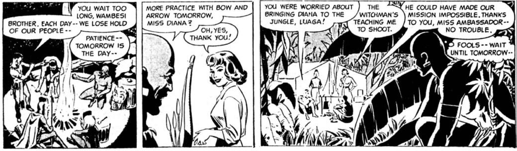 Dagsstrippen från den 31 mars 1962, där Sy Barry tuschade Fantomen