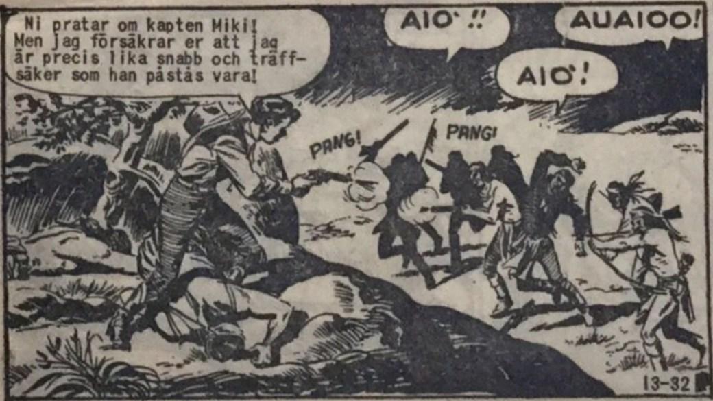 Kapten Miki är snabb med Colt-revolvrarna. En ruta ur Vilda Västern nr 13, 1960