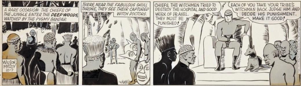 Ett Fantomen-serieoriginal av Wilson McCoy till en dagsstripp från 7 oktober 1955