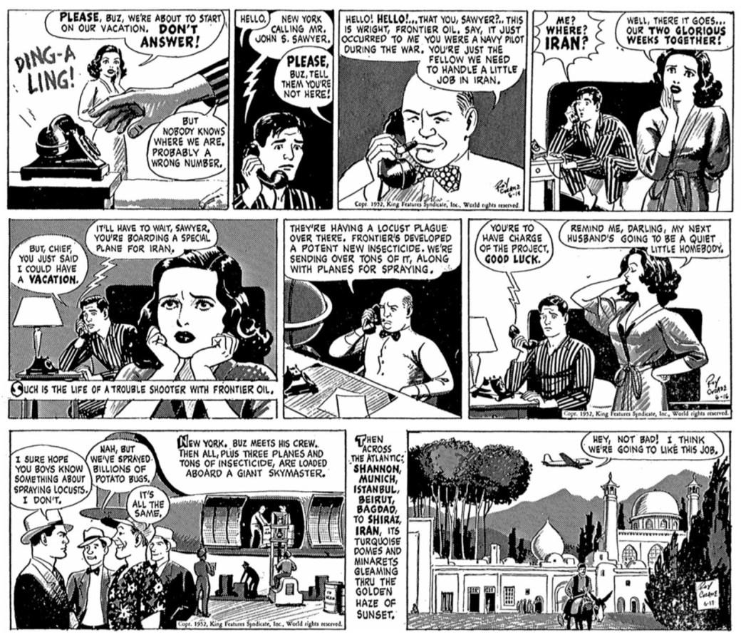 Stripparna i original från 14-17 juni 1952, med mellanliggande bortredigerad stripp