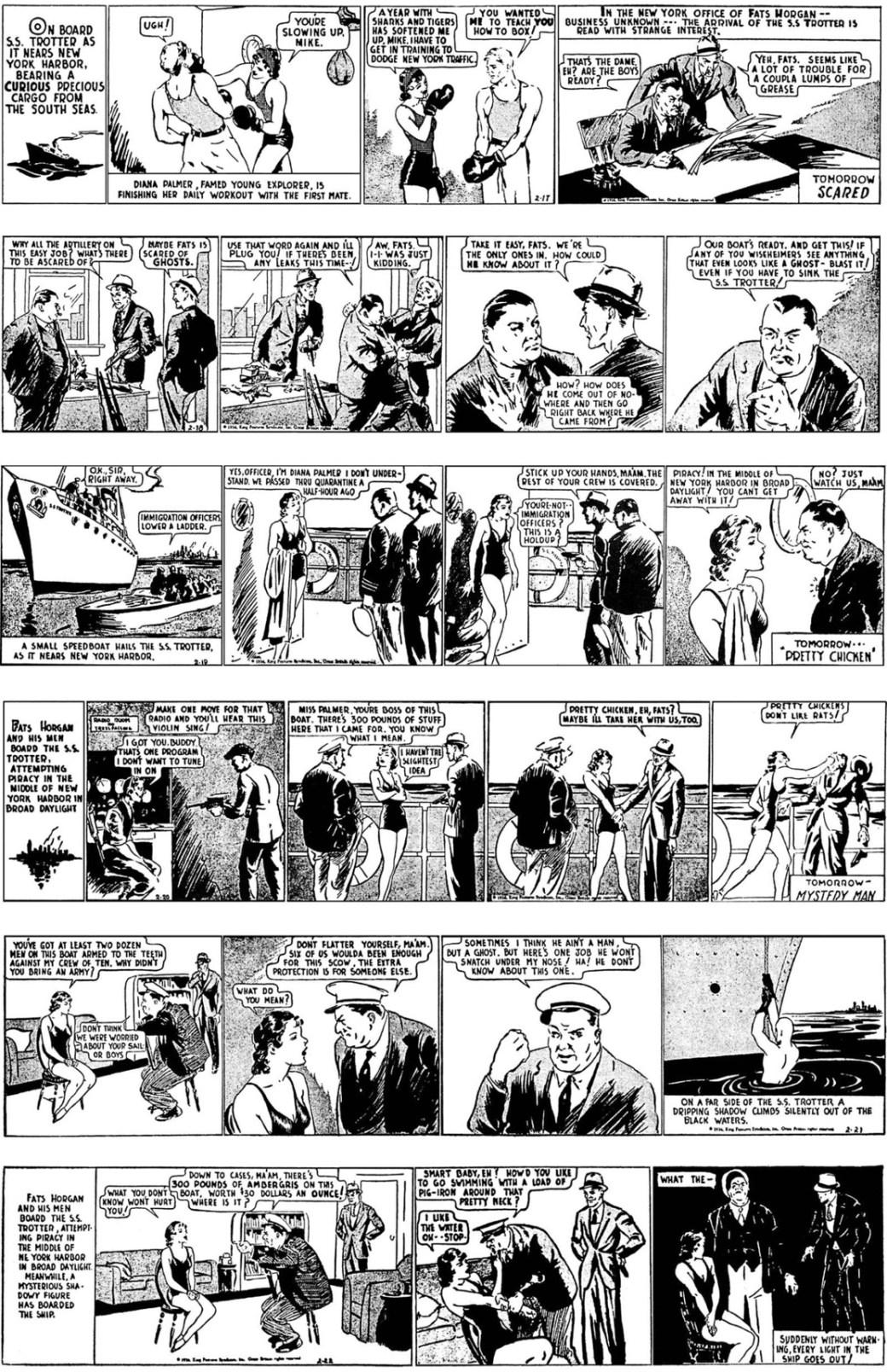 De första Fantomen-dagsstripparna 17-22 februari 1936