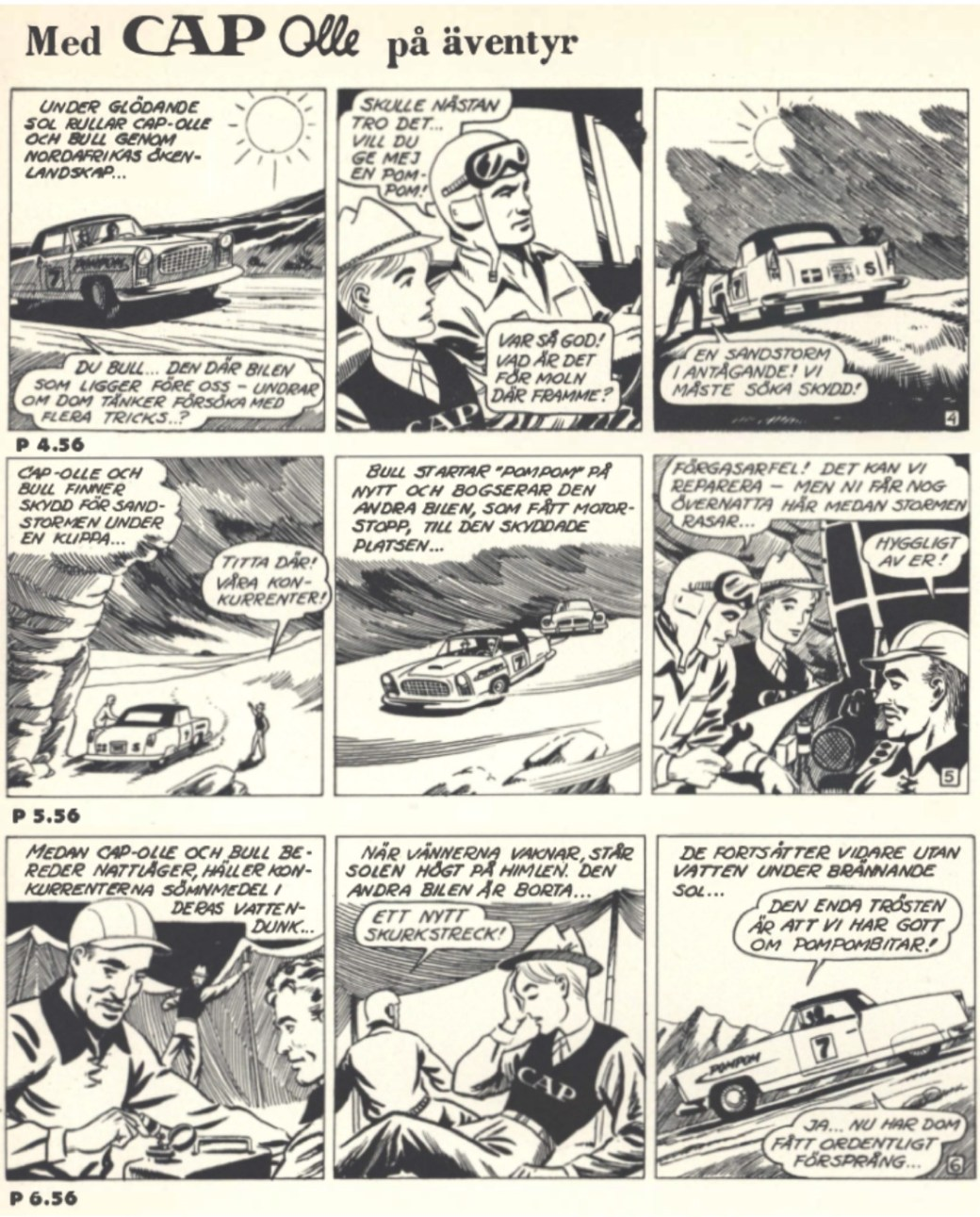 Några strippar av Eugen Semitjov ur annonsserien CAP-Olle på äventyr