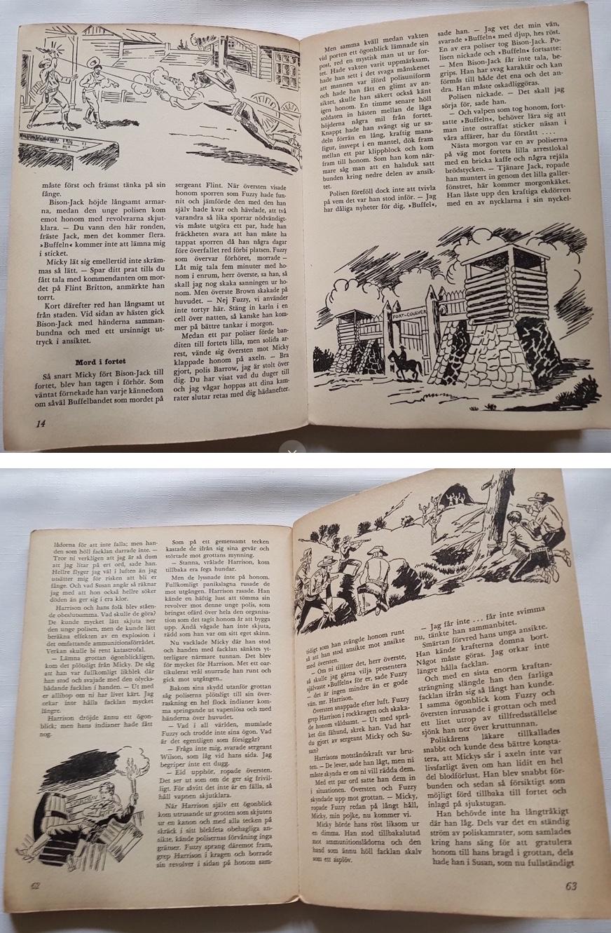 Ett par uppslag ur Buffelbandet med Kapten Miki från 1959