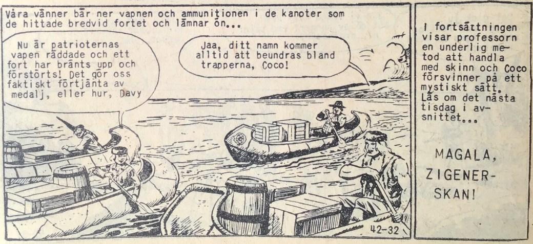 Den avslutande sidan ur Prärieserier nr 42, 1959