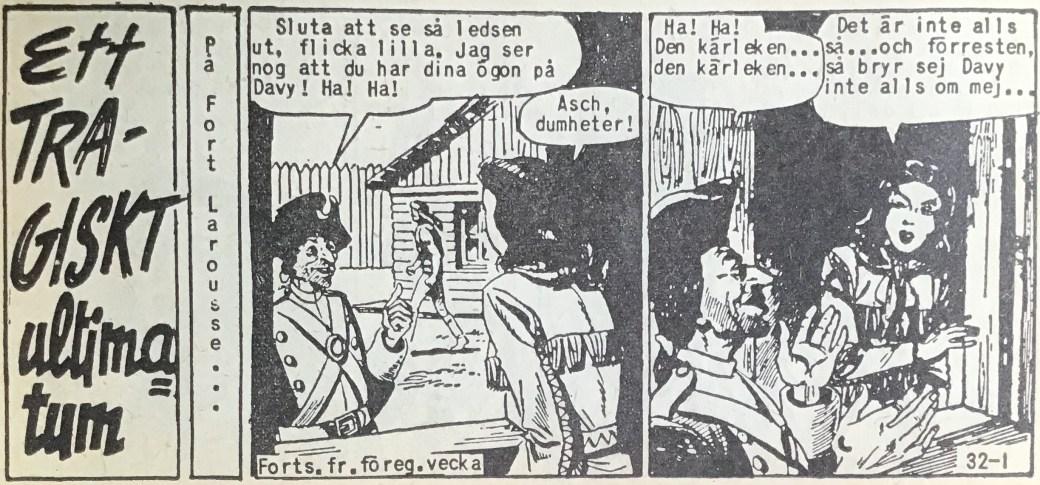 Den inledande sidan ur Prärieserier nr 32, 1958