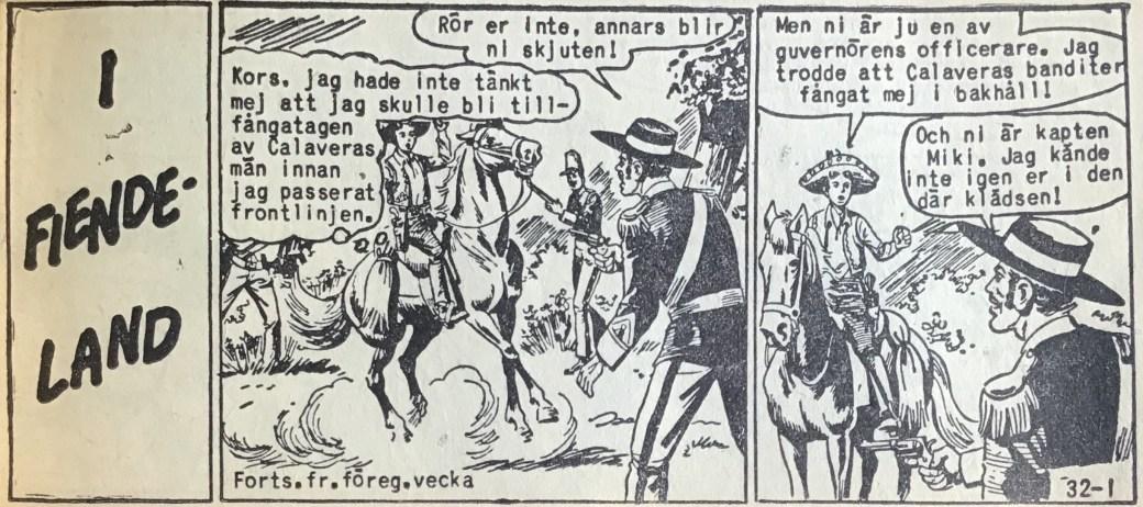Den inledande sidan ur Vilda Västern nr 32, till ett äventyr där Kapten Miki uppträder inkognito utan sin uniform