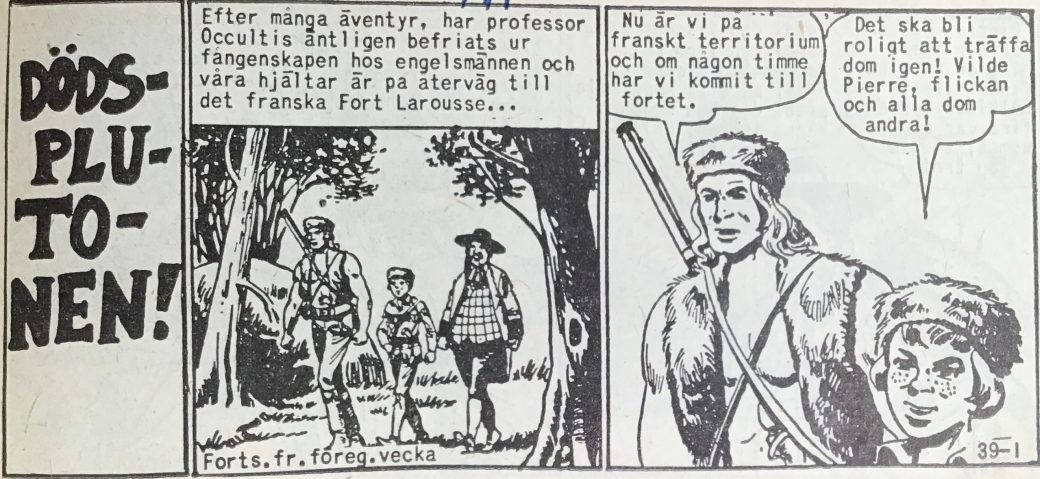 Den inledande sidan ur Prärieserier nr 39, 1958