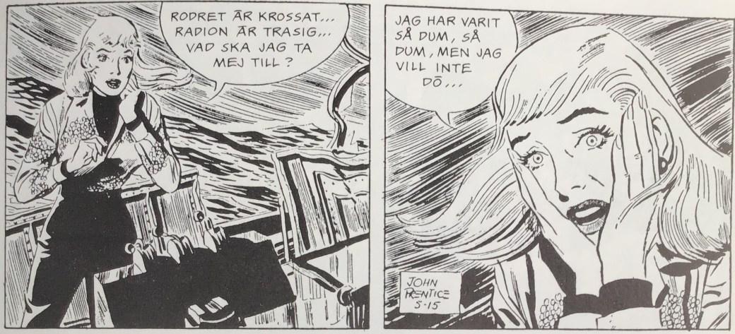 Ett par rutor ur strippen från 15 maj 1957, ur episoden Fingerat hot