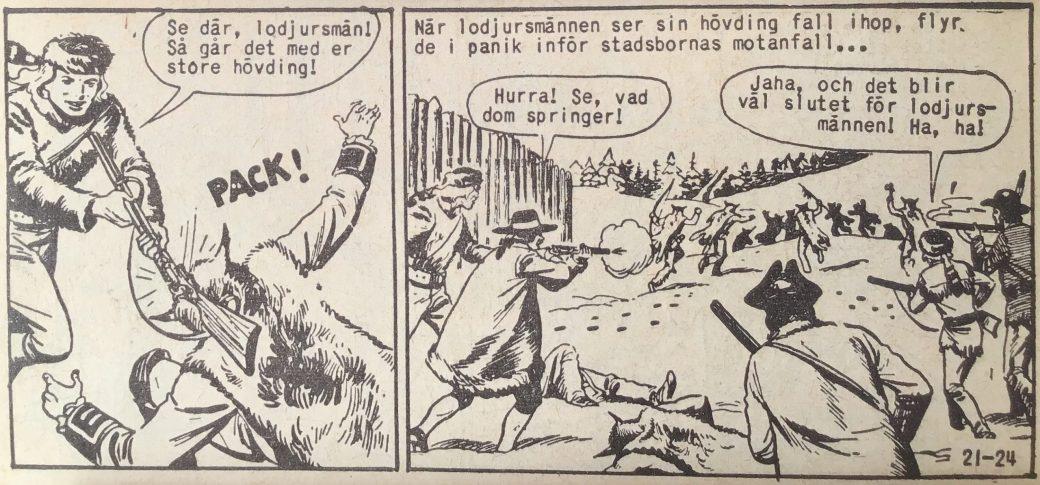 En sida ur Prärieserier nr 21, 1959