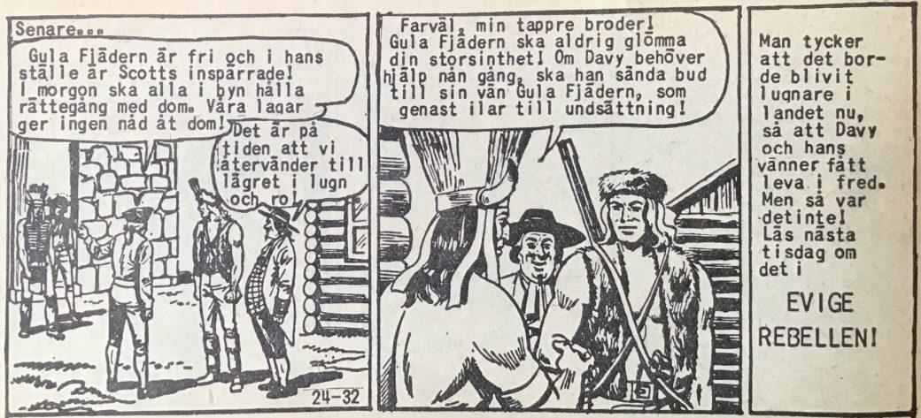 Den avslutande sidan ur Prärieserier nr 24, 1958