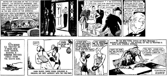 Lee Falks Mandrake från 11 juni 1934, och The Phantom från 17 februari 1936