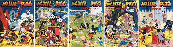 Musse Pigg-tidningen nr 1-5, 1937 från ©Åhlén & Åkerlunds förlag