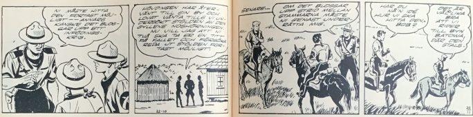 Ett uppslag ur Bob och Frank nr 22, 1954, med rutorna i rätt ordning, dock flera av dem beskurna i sidled