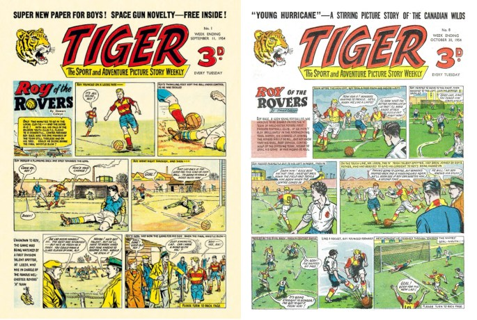 Serietidningar:  Roy of the Rovers ur serietidningen Tiger från oktober-november 1957