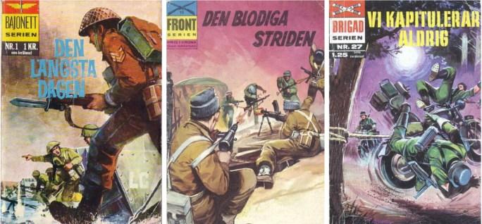 Bajonettserien nr 1 (1965), Frontserien nr 15 (1966) och Brigadserien nr 27 (1968) från ©Williams Förlag