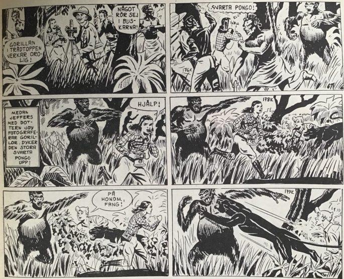 Tre strippar ur Fang, den svarta pantern, från Spud & Co nr 3, 1963