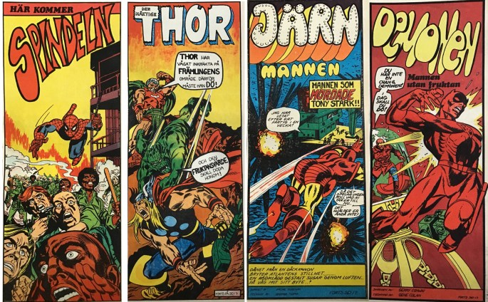 Marvel-hjältarna som de såg ut när de publicerades i Serie-Pressen 1971-72