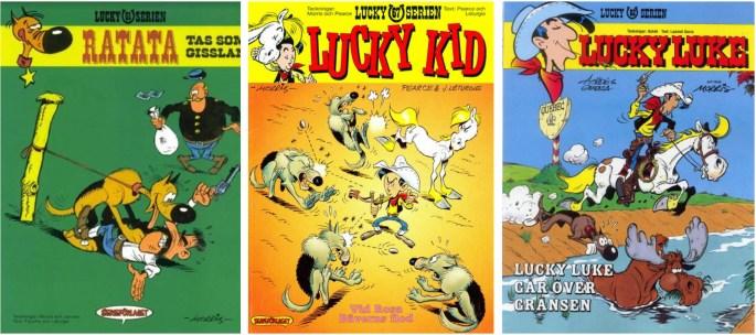 Lucky Luke-albumen bytte namn efter tiden hos Bonniers till Lucky-serien, utgiven av ©Serieförlaget/Egmont förlag