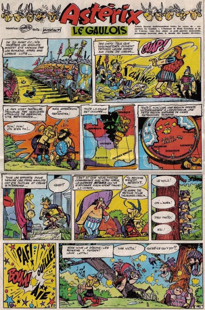 Den tecknade serien Asterix började publiceras i det första numret av Pilote