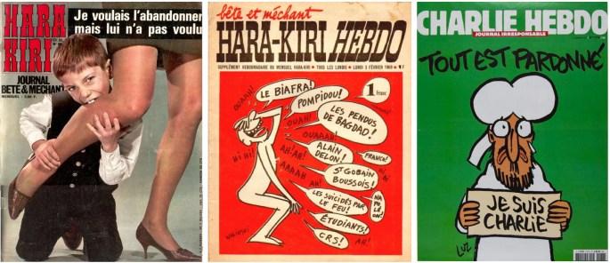 Hara-Kiri blev Hara-Kiri Hebdo 1969, som blev Charlie Hebdo 1970